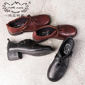 玛菲玛图时尚平底单鞋女2018新款潮百搭英伦学生手工鞋休闲粗跟学院小皮鞋A388-6