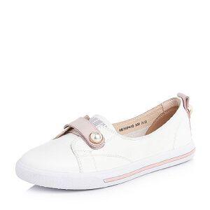 BASTO/百思图2018春季专柜同款白色珍珠清新小白鞋平跟女休闲鞋YIP41AM8