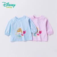 【2件8折到手价:39.2】迪士尼Disney童装 小孩罩衣四季新品后开扣卡通宝宝防水罩衣吃饭衣183P806