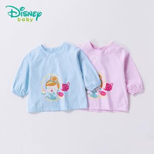 【卷后119元4件】迪士尼Disney童装 小孩罩衣四季新品后开扣卡通宝宝防水罩衣吃饭衣183P806