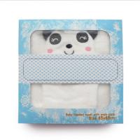 美国熊宝宝婴儿连帽浴巾宝宝带帽浴巾抱被毯纯棉儿童动物浴巾 乳白色 竹纤维熊猫+手套