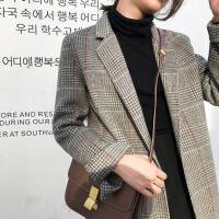 2018新款秋冬双面羊绒大衣女中长款流行格子韩版西装复古毛呢外套