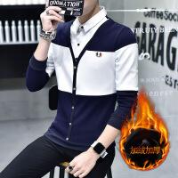 男士加绒长袖衬衫青少年秋冬季韩版加厚假两件潮流拼色帅气寸衫男