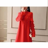 2018春季女装红色结婚敬酒服新娘孕妇小礼服短款长袖连衣裙潮