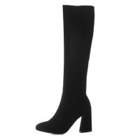 2018冬季新款靴子粗跟高跟鞋高筒靴加绒长筒靴大码女鞋骑士靴中靴