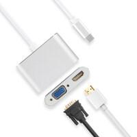 转接头苹果笔记本拓展坞MacBook Air/Pro转换器USB-C转接VGA投影仪显示器HDMI电 USB-C转接V