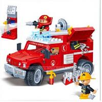欢乐童年-邦宝消防车拼装积木 儿童益智拼插塑料积木玩具 8316悍马车