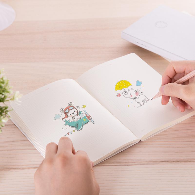 手帐本得力创意文艺小清新小方格随身便携少年心简约复古旅行记账本套装 3本装