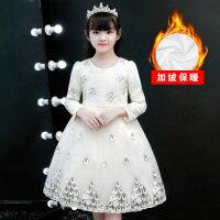 女童连衣裙秋冬加绒长袖洋气裙子儿童冬裙蓬蓬纱表演公主裙
