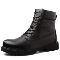 冬季加绒保暖工装棉鞋真皮男士纯皮短靴子韩版潮流中帮高帮马丁靴