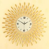 小号金色电子挂钟 欧式客厅时钟表 创意静音艺术石英壁钟 1301小金