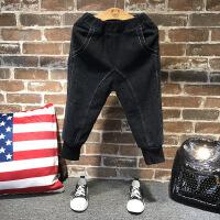 韩版冬季新款男童牛仔裤新款儿童纯色加绒加厚小脚裤子A7-S30