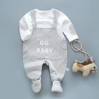 【尾品汇专区:买4免3】歌歌宝贝宝宝背带裤套装纯棉春装婴儿T恤背带裤套装
