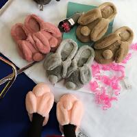 冬季韩国可爱卡通兔耳朵毛绒棉拖鞋居家保暖室内情侣男女地板棉拖