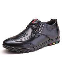 冬秋款男土增高鞋潮流系带6cm隐形内增高皮鞋牛皮黑色休闲男鞋子