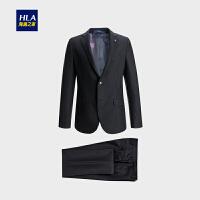 HLA/海澜之家商务平驳领修身仿毛套装2018秋季热卖套装西服男士