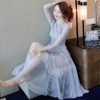 欧洲站秋冬女装蕾丝连衣裙2019早春季新款中长款修身气质名媛裙子 蓝色