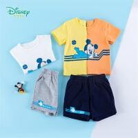 迪士尼Disney童装 男童套装纯棉套头体恤上衣运动短裤两件套2020年夏季新品中小童衣服