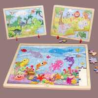 拼图儿童两岁宝宝玩具木质恐龙交通工具100片带框架3-5-6岁男女孩