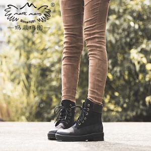 玛菲玛图磨砂短靴女秋季新款圆头小黄靴中跟松糕底街头风系带机车靴女T6-9