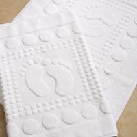 酒店棉白色小脚丫地巾棉提花白地垫吸水浴室加厚白毛巾 白色 75*45