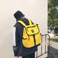 双肩包女帆布韩版学生小清新森系学院原宿风书包女大容量简约 黄色 ww-9641
