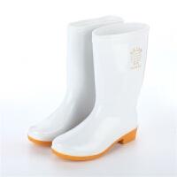 男女中筒高筒加厚白色食品雨鞋卫生雨靴防滑水鞋水靴耐酸碱油胶鞋
