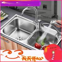 厨房水槽双槽套餐304不锈钢洗碗池 洗菜盆加厚水盆手工水槽 m7r