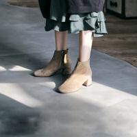 短靴秋冬2018新款马丁靴女英伦风粗中跟切尔西靴网红百搭瘦瘦靴潮