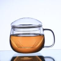 玻璃杯 带盖带把透明创意耐热水杯花茶杯双层牛奶 办公杯 情侣杯