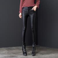 2018春款黑色加绒皮裤女冬外穿打底裤小脚裤高腰裤子