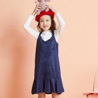 【全场2件2.5折,到手价:84.8】moomoo童装女童连衣裙新款春秋装时尚洋气儿童女孩仿绒裙子