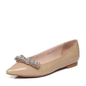 Tata/他她秋漆牛皮甜美水晶蝴蝶结尖头方跟浅口女鞋NU311CQ6