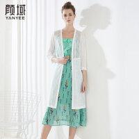 颜域品牌女装2018夏季装新款简约百搭纯色拼接花边蕾丝针织长外披