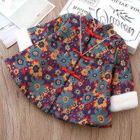 女童旗袍冬民族风宝宝唐装立领对襟毛毛袖加厚女儿童连衣裙新年装