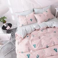 床上三件套1.2m被套可爱床单四件套 粉红色 多肉
