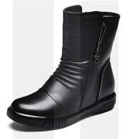 冬季妈妈鞋保暖牛皮加绒羊毛中筒靴女士皮鞋中年大码平底防滑棉鞋SN5590