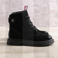 语妍女鞋真皮平底英伦风马丁靴欧美系带磨砂牛皮短靴加绒保暖靴子SN4381 黑色 单内里