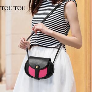 toutou2017新款女包撞色迷你包韩版小圆包可爱小包包单肩斜挎包潮