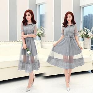 2018夏季新款女装韩版网纱格子条纹连衣裙女中长款小清新裙子气质