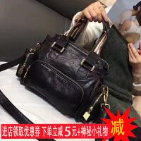 羊皮包包2018新款韩版女包小包女士手提包真皮休闲单肩包潮斜挎包SN6372 黑色现货【小礼物】