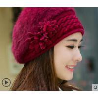 新款时尚加绒加厚保暖针织毛线帽兔毛帽子女士时尚潮贝雷帽