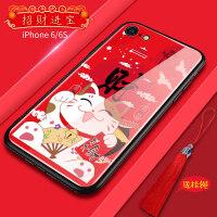 新年款 苹果6s手机壳iphone7plus本命猪年红色潮牌个性玻璃保护套6p全包防摔7p创意外壳8