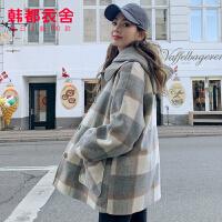 【1件3折397元】韩都衣舍2019韩版冬装新款翻领直筒中长款女格子毛呢外套PC9151��