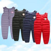婴幼儿童羽绒棉背带裤男女冬季加厚保暖外穿宝宝开档连体裤
