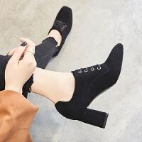 ZHR2019秋季韩版高跟鞋粗跟单鞋方头休闲鞋鞋子复古女鞋