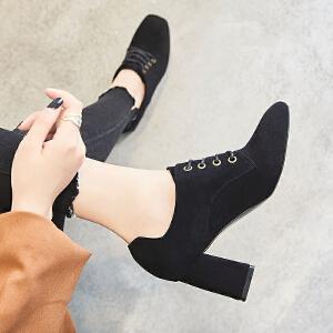 ZHR2018秋季新款韩版高跟鞋粗跟单鞋方头休闲鞋鞋子复古女鞋