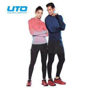 UTO悠途 男士户外跑步长裤二合一跑步女款健身裤男女短裤运动裤透气排汗104 204