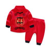 宝宝秋装儿童秋冬季0一1-2-3岁周岁礼服男女婴儿红色衣服唐装套装