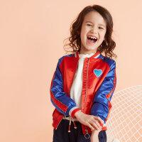 【全场2件2.5折,到手价:67.3】moomoo童装女童外套新款春秋装撞色洋气中大儿童棒球开衫外套
